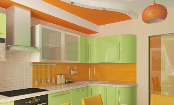 кухня салатовая с оранжевым фото